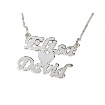 Lover's persoanlized jewelry Sterling Silver Name Necklace Two Names Heart - PersJewel