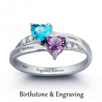 Ring with Two Names and Birthstones Engraved