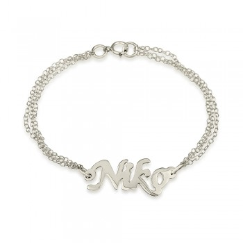 sterling silver double chain name bracelet