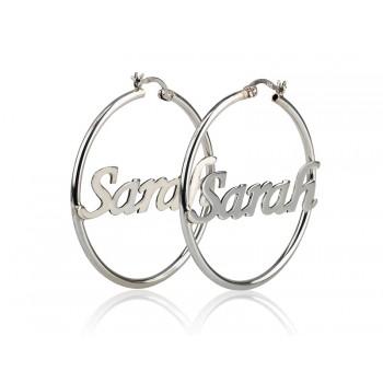 Sterling silver Hoop earrings any name or word