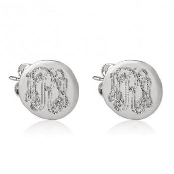 Sterling silver stud earrings - Monogram