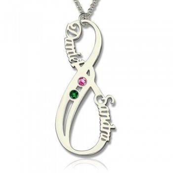 Sterling Silver Vertical Infinity Name Necklace with Birthstones