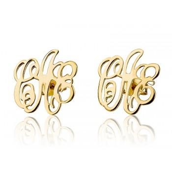 Monogram Earrings 3 letters 14k solid yellow gold