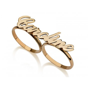 Two finger name rings 14k yellow gold  any name or word