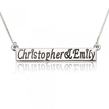 White gold bar necklace in 14k white gold with black engraving letters
