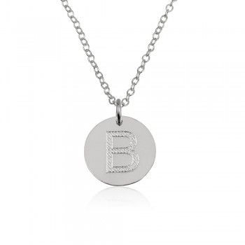 14 white gold initial necklace with engraving - come pendant and chain