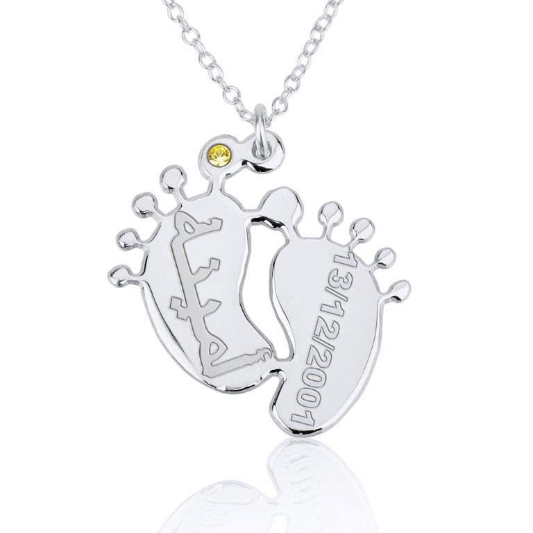 White Gold Baby Feet Arabic Name Necklace PersJewel