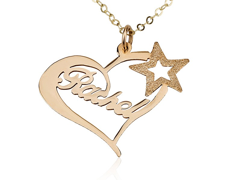 Yellow Gold Heart Name Necklace w/ A Star   PersJewel