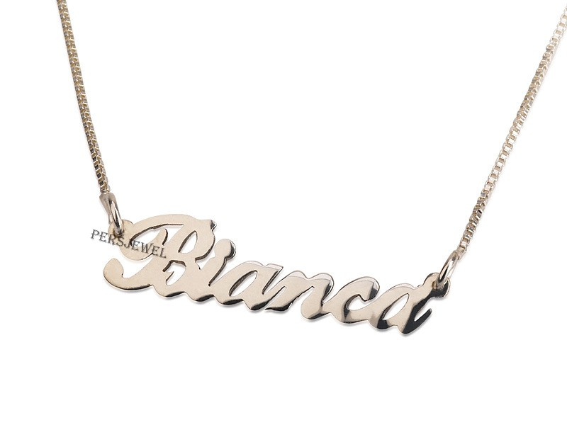 Customized 14k Solid gold name necklace Personalized Bianca name pendant