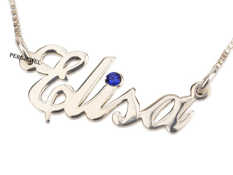 White Gold Name Necklace Swarovski Stone   PersJewel
