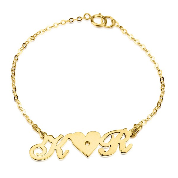 Image result for 18k Gold Plated 2 Letters And Swarovski Bracelet