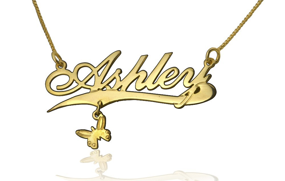 18K Gold Plated Name Necklace Butterfly with simulation of your name