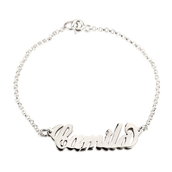 Personalized 14k Solid White Gold Name Bracelet Jewelry