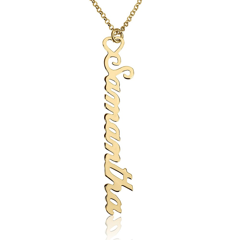 Gold Personalized Vertical Name Necklace with Heart