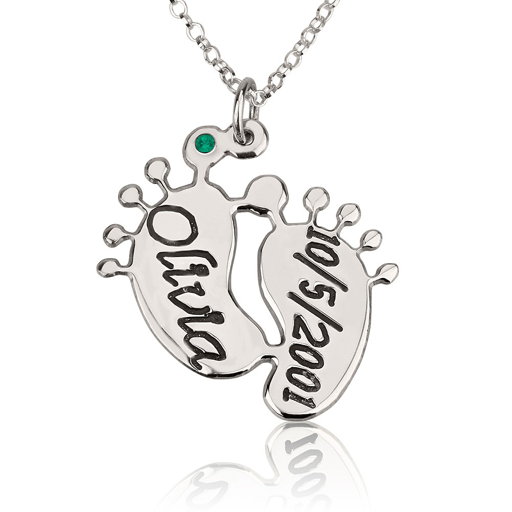 Baby feet necklace for mom name necklace persjewel silver personalized baby feet necklace engraved for mom with name and date aloadofball Gallery