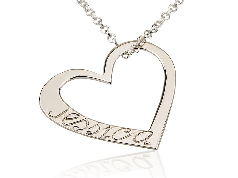 Silver Heart Engraved Personalized Necklace with simulation of your name