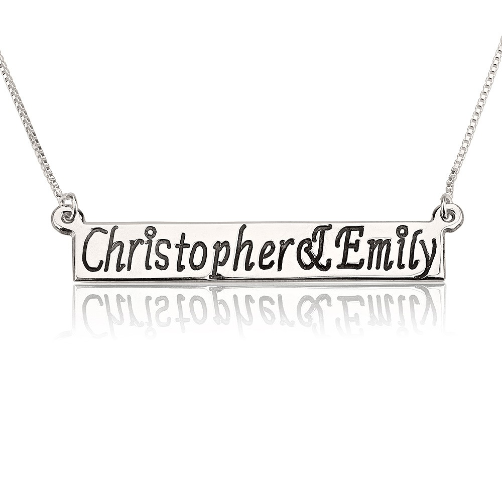 Sterling Silver Bar Name Necklace With Two Names with simulation of your name