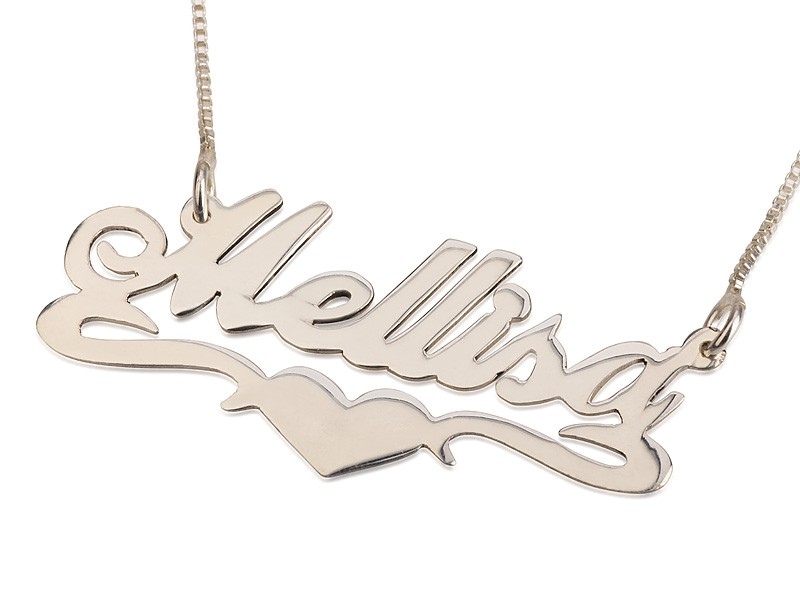 Sterling Silver Lower Heart Style Name Necklace with simulation of your name