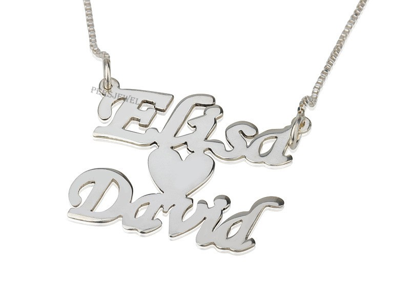 Two Names Heart Love Necklace 14k White Gold Name