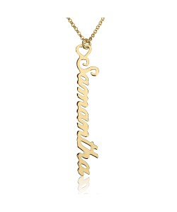 Vertical name necklace in 10 karat solid gold jewelry