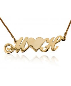 Middle heart with two letters necklace personalized jewelry in 10 karat solid gold
