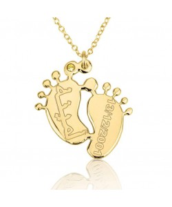 10 karat solid gold Baby feet family mom personalized baby feet jewelry