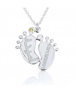 14k solid white gold Baby feet family mom jewelry with Arabic engraving  by PersJewel