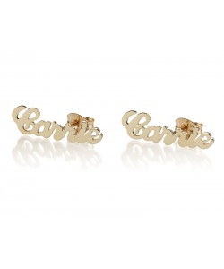 10k gold stud earrings Carrie style custom made jewelry Up to 12 letters