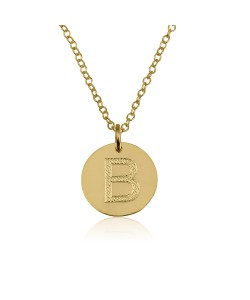 10K Solid Yellow Gold Round Pendant Necklace with Initial Engraved