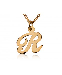 14k Solid Gold Rose one letter Initial Pendant - PersJewel