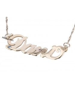 Personalized jewelry solid gold name Necklace with Diamond Stone
