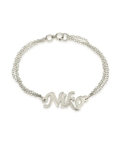 14k Solid White Gold Name Bracelet with Double Chain