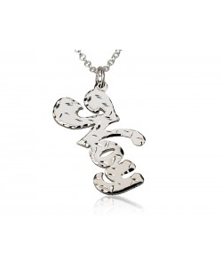 14k Solid White Gold Cuts Name Necklace design