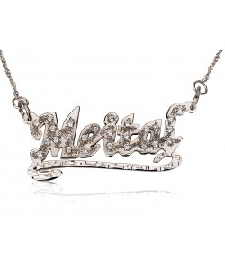 14k Solid White Gold Lower Line & Swarovski prestige name necklace