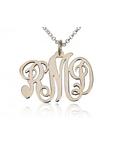 14k Solid White Gold Monogram Font necklace