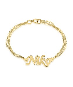 Double Chain 14k Gold Bracelet with Cutout Name