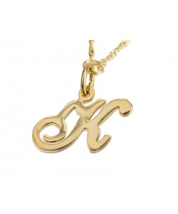 14K Solid Yellow Gold Initial Letter Necklace
