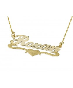 14K Solid Yellow Gold Lower Heart Sparkling name necklace