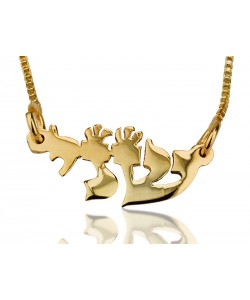 14K Solid Yellow Gold Name Necklace Hebrew