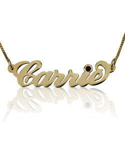 14K Solid Yellow Gold Swarovski Stone name necklace