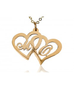 14K Solid Yellow Heart in Heart with 2 Letters name necklace