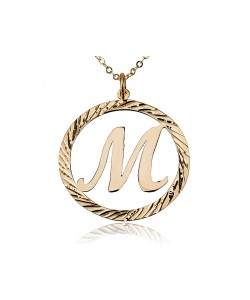 14K Solid Yellow Initial Letter In Circle Design Necklace for Bridesmaid