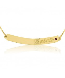 Solid gold bar name necklace with Swarovski stone by PersJewel