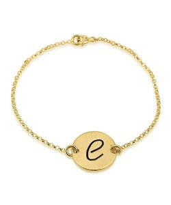 14k gold name necklace Initial black engraving bracelet