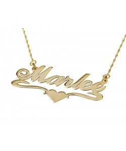 14k gold name necklace with middle heart