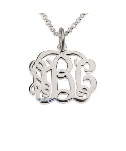 14k monogram necklace in white gold chain and pendant