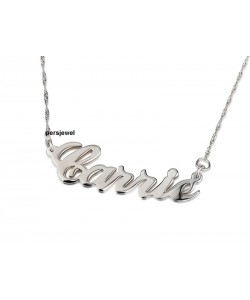 14k Solid White Gold Name Necklace Carrie Style Font Name Necklace
