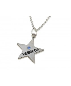 14k Solid White Gold Star Pendant With Swarovski name nacklace