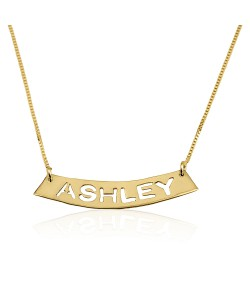 Bar necklace with laser cut name, made of 14k real gold pendant and chain