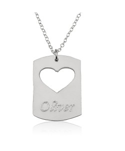 14K White Gold Disc Name Necklace with a Heart